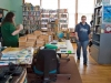Omar Poler, Tyler Kennedy and Christina Johnson clean and organize the Red Cliff Library on April 4, 2009.